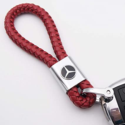 Amazon.com: Fashion Red Braided Leather Cord Key Chain for ...
