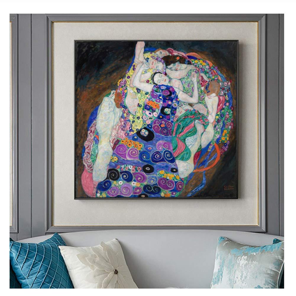 50x50cm Sin marco La Virgen Pinturas de arte famosas de Gustav Klimt Arte cl/ásico de la pared Impresiones de la lona Reproducciones para la sala Decoraci/ón de la pared