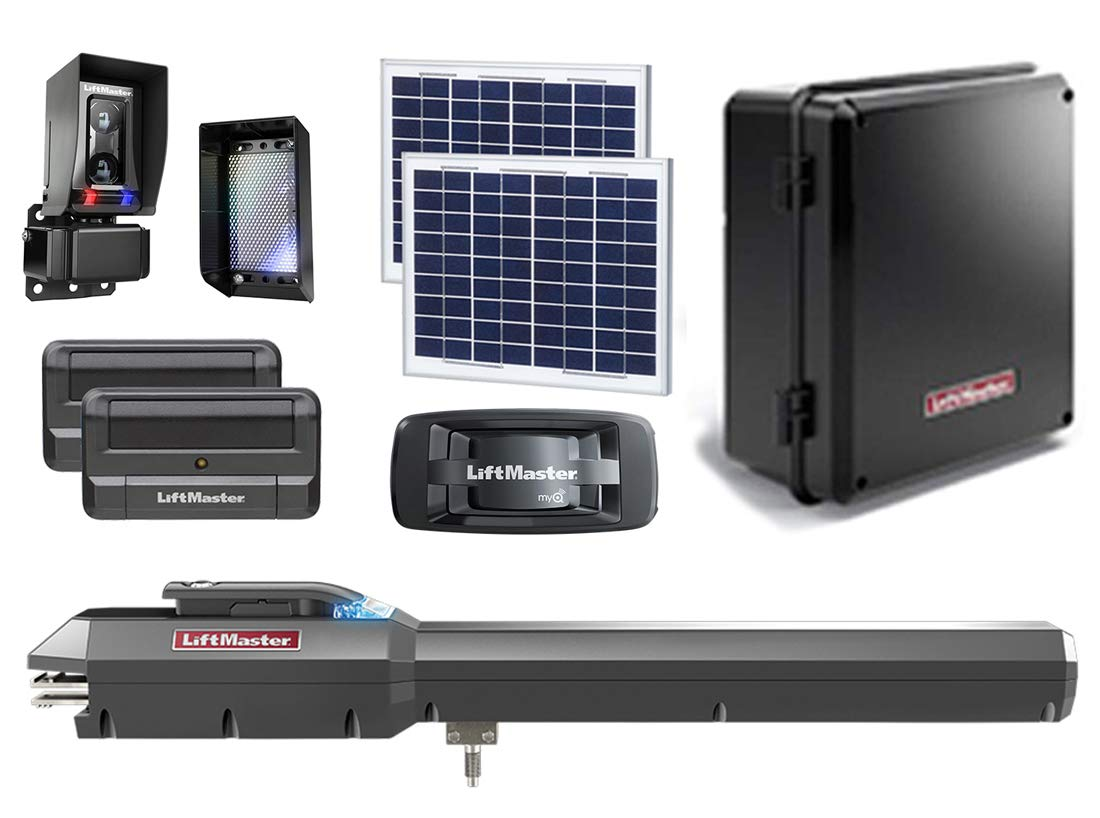 LiftMaster LA500PKGU / LA500PKGUL Solar Gate Opener 2019 UL325 Compliant with Two 811LM Remotes, 828LM MyQ Internet Gateway, 210W Soar Kit, Safety Photo-Eye & Free A Heavy Duty FAS Tape Measure