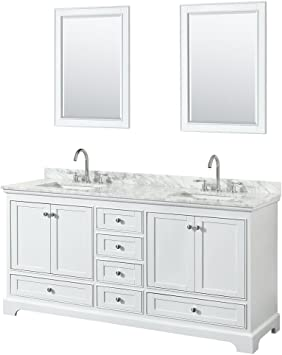 Wyndham Collection Deborah 72 Inch Double Bathroom Vanity In White White Carrara Marble Countertop Undermount Square Sinks And 24 Inch Mirrors Amazon Com