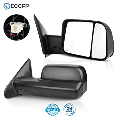 ECCPP Towing Mirrors Tow Mirrors Replacement fit for 2002-08 Dodge Ram 1500 2500 Pickup Power Heated Towing Side Mirrors Pair Set Passenger & Driver Side View: Automotive