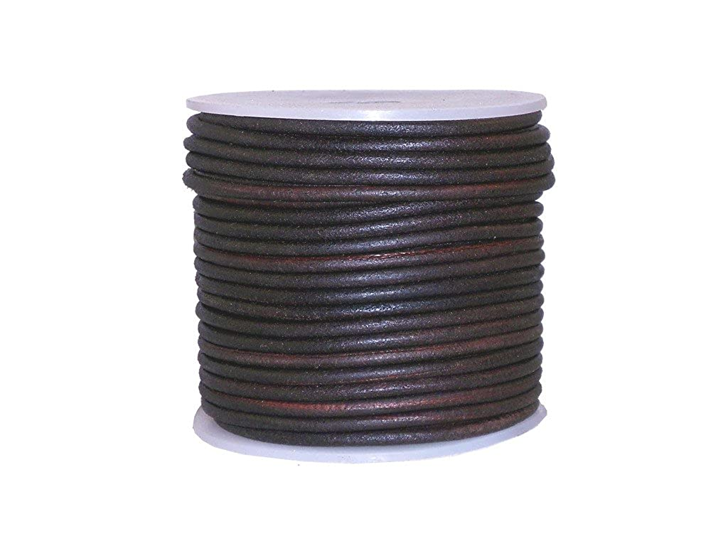 cords craft Round Leather Cord for Round Bracelet Necklaces Plain Genuine Leather Cord 3.0MM Dark Brown Distress