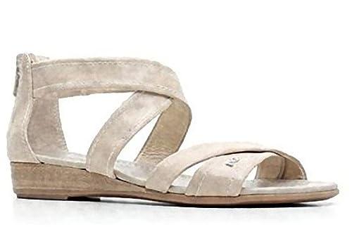 Sandalo bassi NeroGiardini in pelle sabbia con lampo posteriore (39 ... 38d0951e5a7