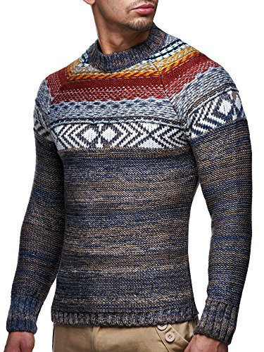 LEIF-nELSON-lN20228-pull-over-en-maille-pour-homme-Marron-Large