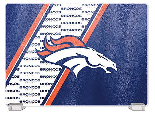 NFL Denver Broncos Tempered Glass Cutting Board with Display Stand