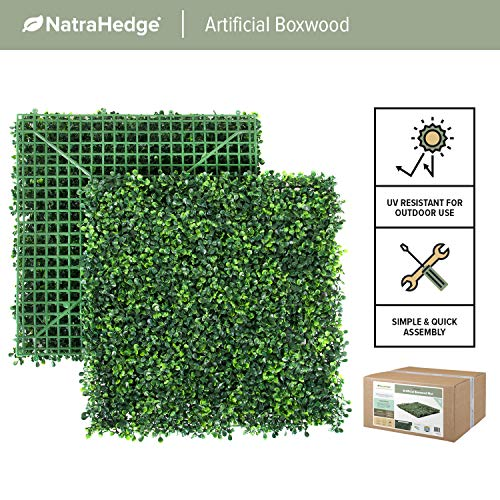 NatraHedge Artificial Boxwood Mat Panels UV Protected for Outdoor and Indoor Use (12 Pack) 33 SQF (Light Green)