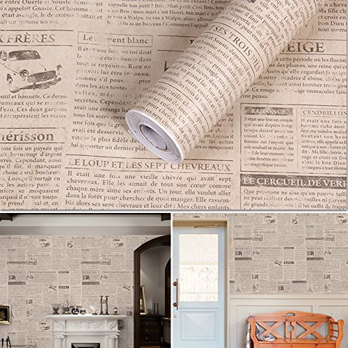 SimpleLife4U Retro Beige Newspaper Contact Paper Self-Adhesive Shelf Liner Countertop Sticker 17.7 Inch By 9.8 (Self Adhesive Print)