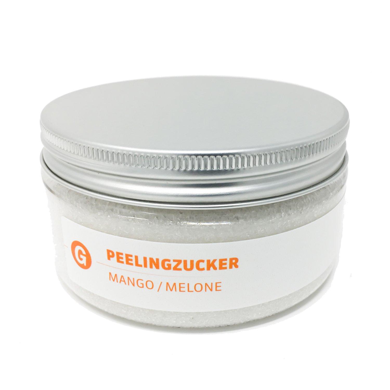 Globasid® Zucker-Peeling Mango Melone 225g. Sanftes Peeling für den Körper, Sugar Scrub. Dusch-Peeling Natur Body-Scrub, Sauna-Zucker, Sauna-Zubehör, pharmazeutische Qualität Made in Germany Sauna-Zubehör