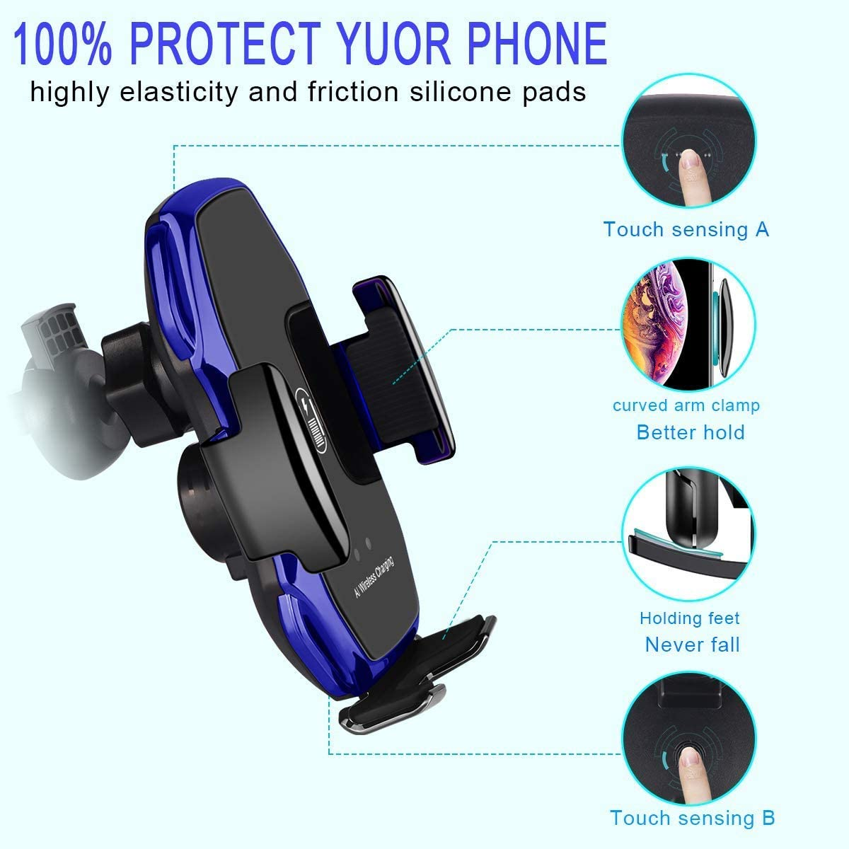QI Wireless Fast Charging // S8 Note//Phone 11pro // Xs//XR//XS MAX // 8 // 8Plus // etc Compatible with Galaxy S10 A5 Black Car Phone Holder Mobile Phone Mount Smart Sensor GPS Bracket // S9