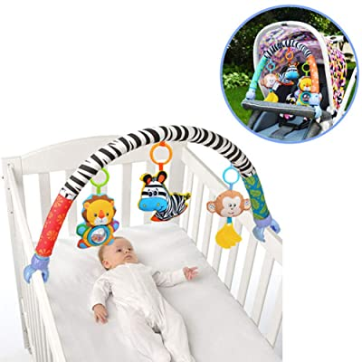 SmartLives Lovely Animal Stroll Activity Arch, 0 Month +, Infant Black & White Vision, Adjustable Clips Fit Most Strollers, Musical Zebra Monkey Lion Rattle Toys (no Retail Package): Toys & Games