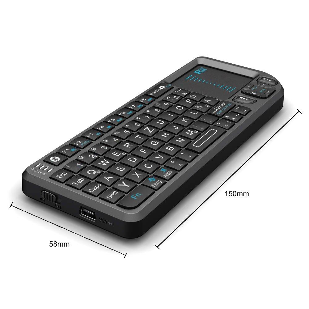 /MWK01/+ Mini Teclado inal/ámbrico Rii RT/ con rat/ón touchpad Alem/án, QWERTZ