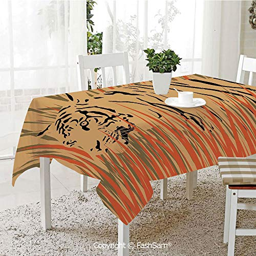 Premium Waterproof Table Cover Tiger in The Bushes Camouflage Carnivore Predator Feline Africa Animal Art Table Protectors for Family Dinners (W55 ()