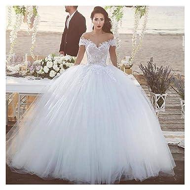 Amazon.com: FidgetGear - Vestido de novia blanco de encaje ...
