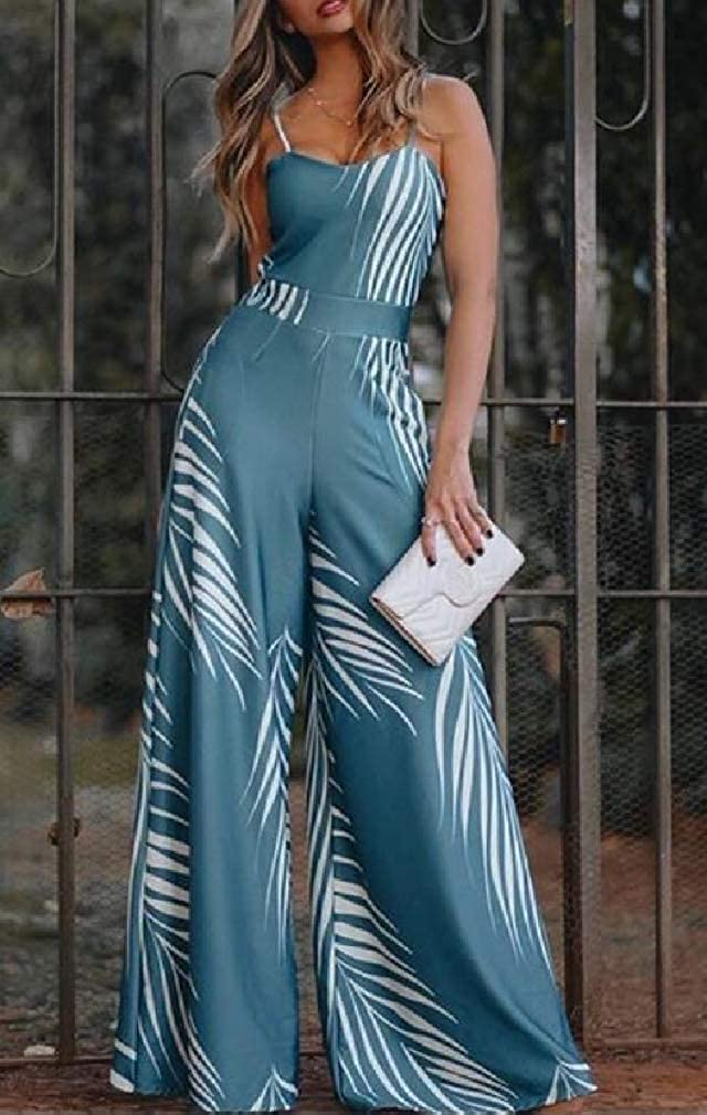 Cromoncent Womens Graphic Sleeveless Spaghetti Strap Wide Leg Long Rompers Jumpsuits