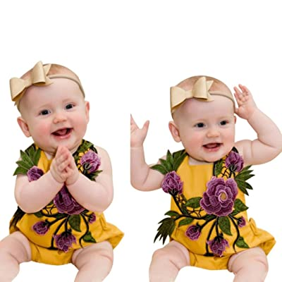 1bfe8fac4f4 Sunbona Infant Newborn Baby Girls Embroidery Print Strap Romper Jumpsuit  Pajamas Summer Outfits Clothes