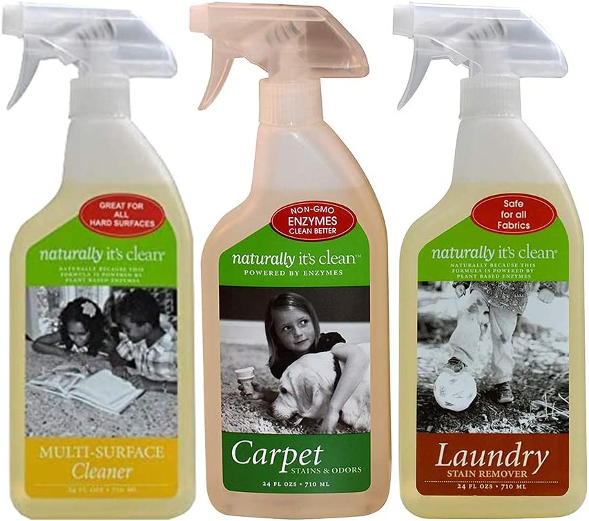 Naturally It's Clean Value Bundle - 6 Bottle Bundle - Carpet Stain Cleaner, Laundry Stain Cleaner, and Multi-Surface Cleaner Sprays - Plant Based Enzyme Safely Cleans
