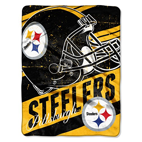 The Northwest Company NFL Pittsburgh Steelers Deep Slant Micro-Raschel Throw, Black, 46 x 60-Inch