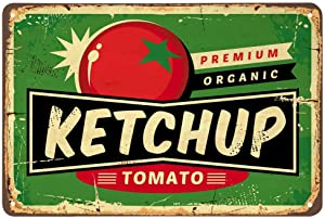 AOYEGO Ketchup Tin Sign,Tomato Healthy Food Delicious Restaurant Vintage Metal Tin Signs for Cafes Bars Pubs Shop Wall Decorative Funny Retro Signs for Men Women 8x12 Inch