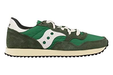 Saucony Mens DXN Vintage S70369-3 Green White Suede Trainers 12 US