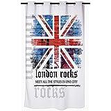 Douceur d'Interieur 6RD142 London Rocks Rideau de Douche avec Motifs Polyester 180 x 200 cm