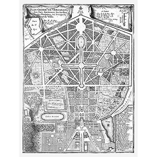 Wee Blue Coo Map Antique Palace Plan De Fer Versailles Park Gardens Unframed Wall Art Print Poster Home Decor Premium from Wee Blue Coo