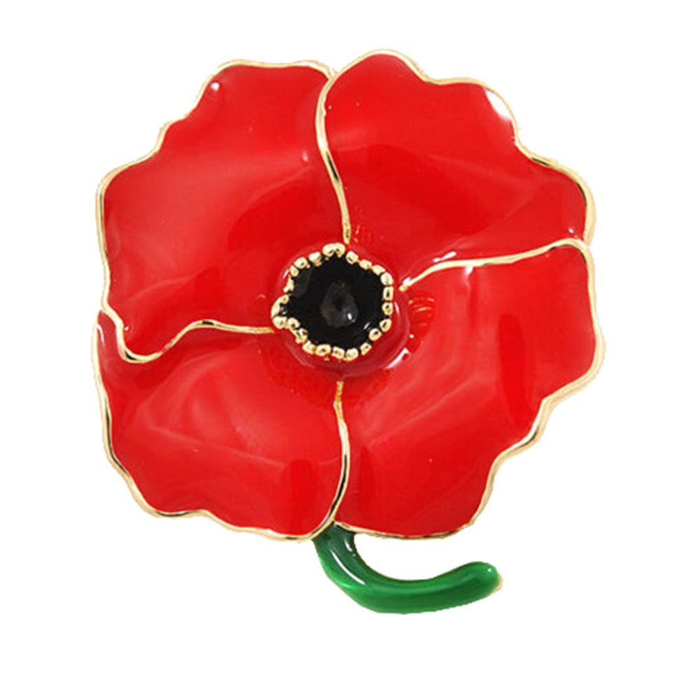 Red Poppy Flowers Brooch Pin Badge Glitter Soldier Enamel Lapel Plating Pin Gift Remembrance Day Gold Leaf Bling Stars