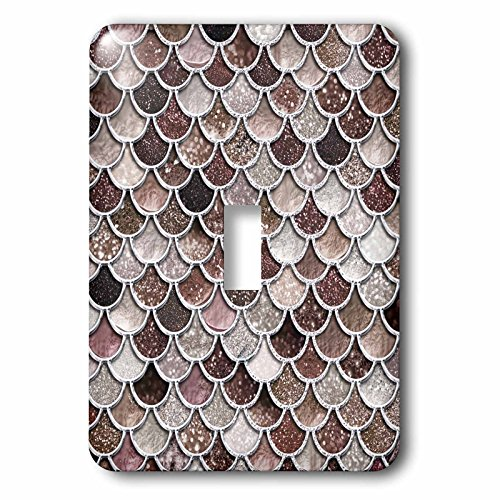 3dRose Uta Naumann Faux Glitter Pattern - Image of Sparkling Brown Luxury Elegant Mermaid Scales Glitter Effect - Light Switch Covers - single toggle switch (lsp_275445_1) by 3dRose