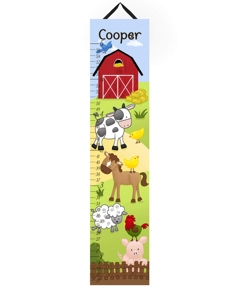 Toad and Lily Canvas GROWTH CHART Farm Animals Cow Horse Sheep Pig Rooster Kids Bedroom Baby Nursery Wall Art GC0106 by Toad and Lily