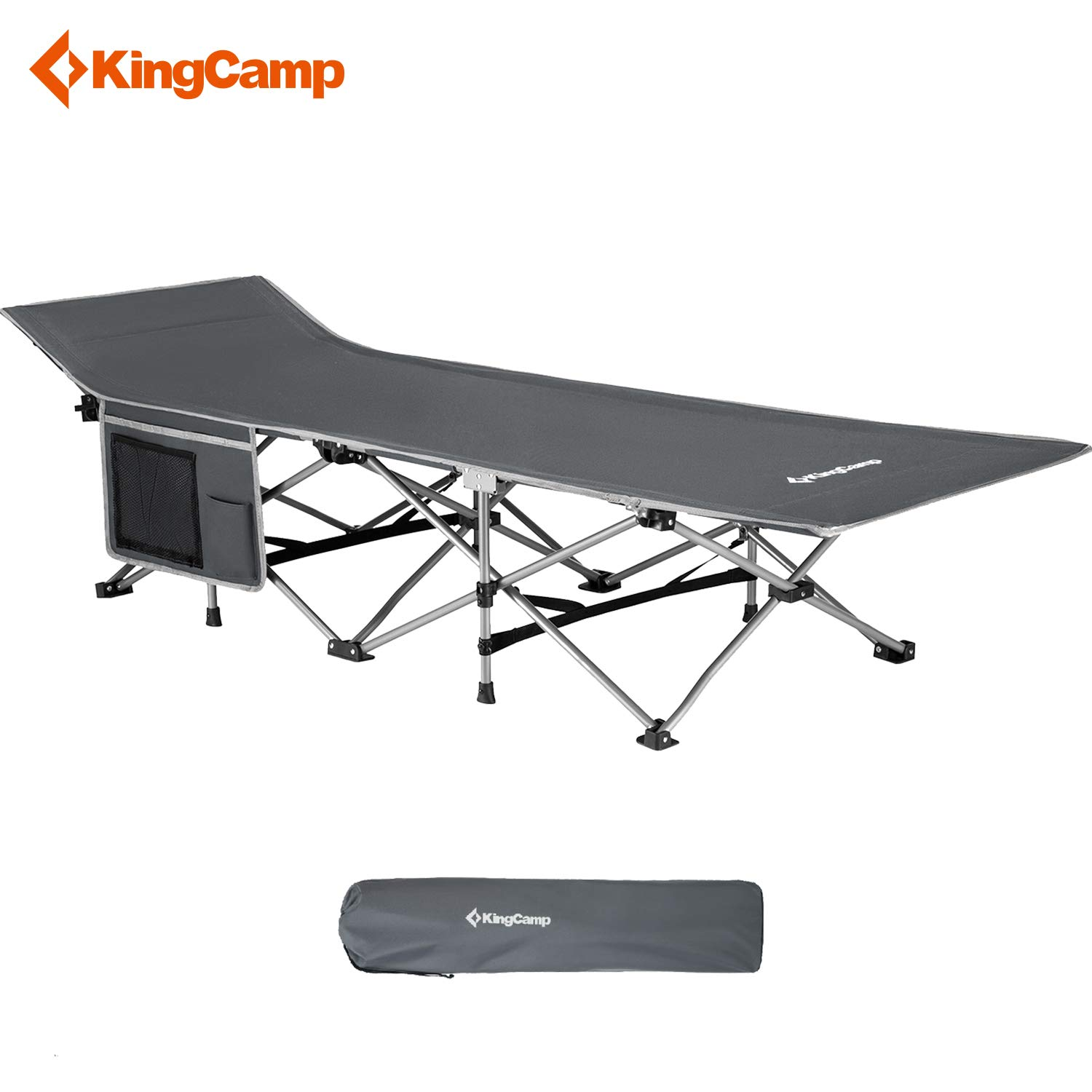 KingCamp Strong Stable Folding Camping Bed Cot with Carry Bag (Grey with Side Pocket) by KingCamp