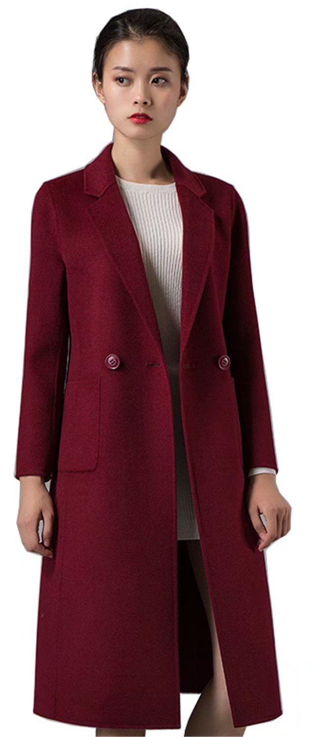Spring Air women Long Double Faced 100% Wool Fashion Coat