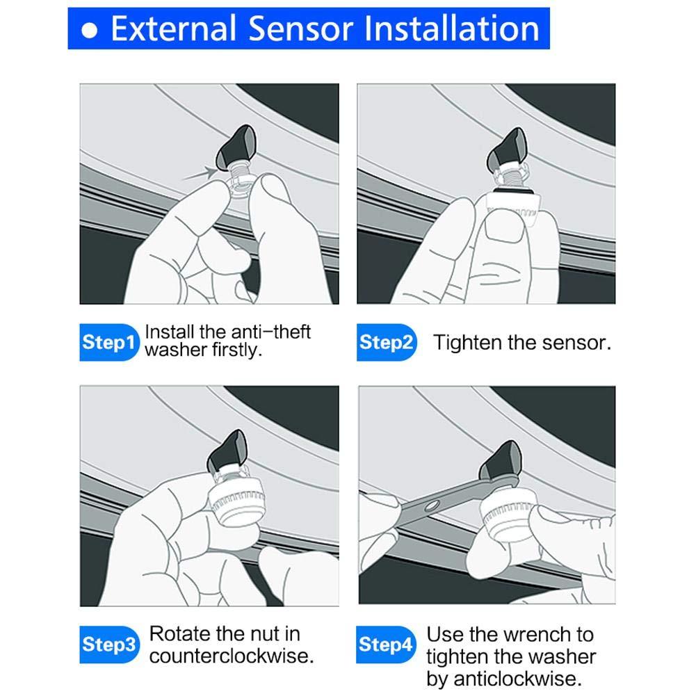 Herramientas de Control de presi/ón de neum/áticos con 4 sensores externos de Tapa Blue-Yan Sistema de Control de presi/ón de neum/áticos TPMS