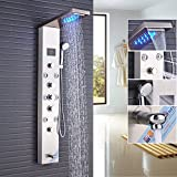 Rozin Bathroom Thermostatic Tub Shower Faucet Panel Set LED Rain Waterfall Showerhead + Body Massage Jets + Handheld Spray Stainless Steel Rozinsanitary