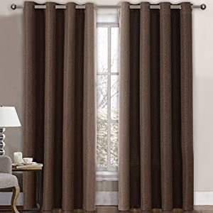 Linen Curtains Room Darkening Light Blocking Thermal Insulated Heavy Weight Textured Rich Linen Burlap Curtains for Bedroom / Living Room Curtain, 52 by 96 Inch - Cocoa Brown (1 Panel)