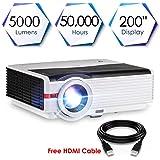 Vidéo Projecteur HD Portable 5000 Lumens LED Multimédia Cinéma Home Theatre Support 1080P HDMI USB VGA Ordinateur Portable TV Smartphone pour Films Fêtes Jeux