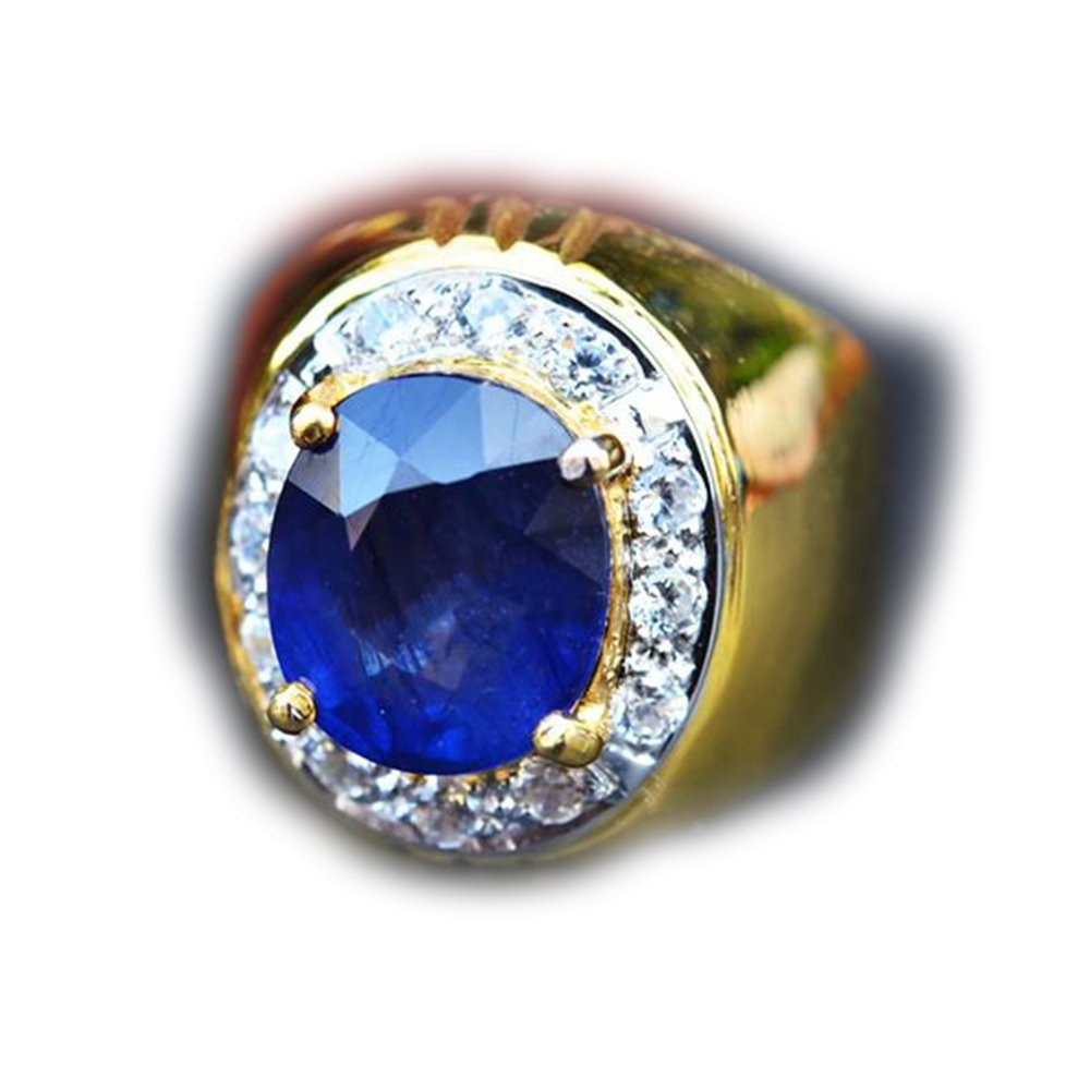 52.73ct Natural Oval Blue Sapphire 925 Gold Silver Ring 8US Madagascar #R