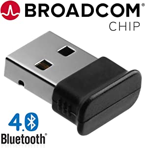 GMYLE Bluetooth 4.0 Broadcom Chip Dongle Adapter, Ultra-Mini USB Transmitter Receiver with LED, Support Windows 10, 8, 7, Plug and Play