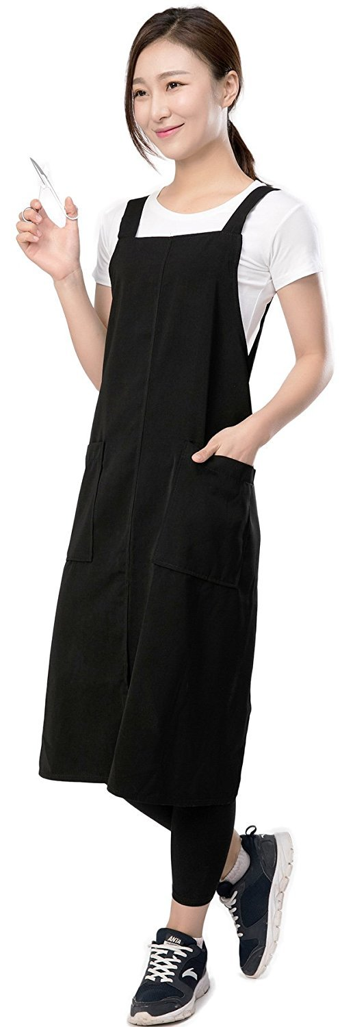 Black Hair Stylist Apron With Pockets, Professional Salon Hairdresser Barber Pet Groomers Smock Vest Waterproof With Belt by Perfehair