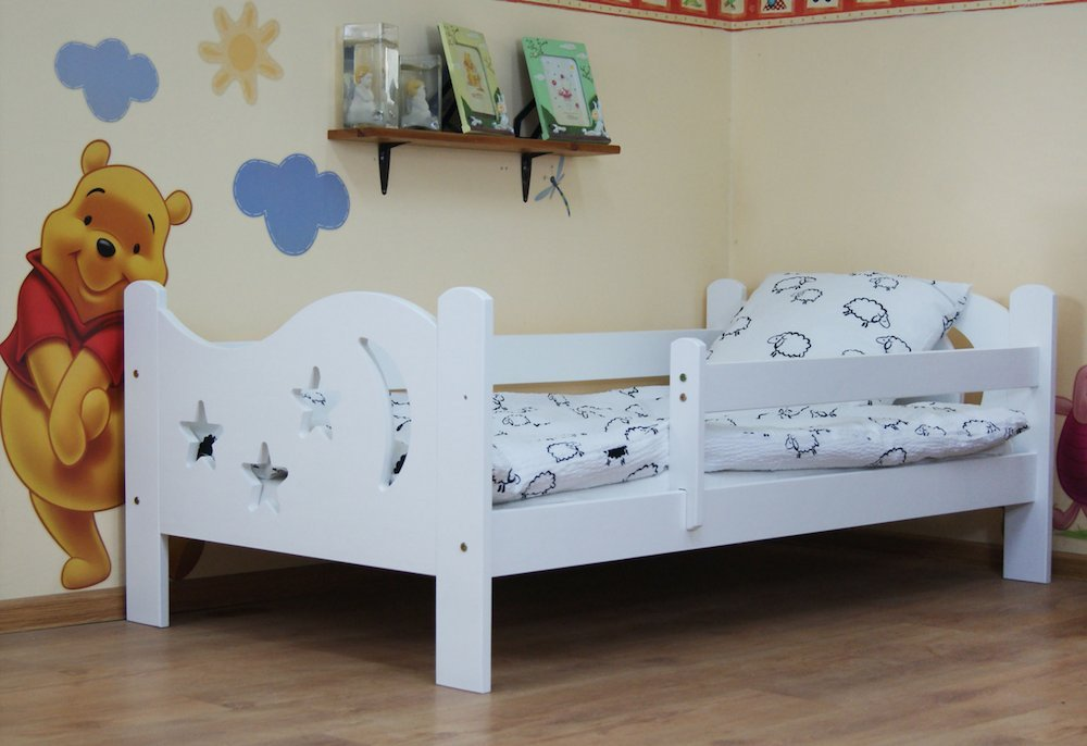Camila Moon & Stars Toddler Bed White & Deluxe Sprung Mattress Poppy's Playground