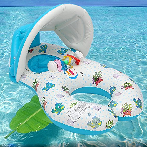 Water Sports WD Inflatable Mother Baby Swimming Ring Swim Pool Water Seat Float with Canopy Sunshade by Wincom Dishman (Image #9)