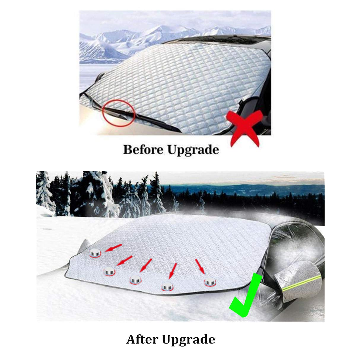 Mirror Cover FEZZ Car Windscreen Cover Wind Auto Winter Vehicle Snow Cover Sun Window Protector Ice Frost Windshield Magnetic Silver 157x126cm for SUV Truck