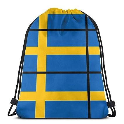 Flag_1010 Sueco Mochila con cordón Mochila Bolsas Ligeras ...