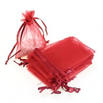 Amazon.com: SOSAM - Bolsas de organza con cordón, 100 ...