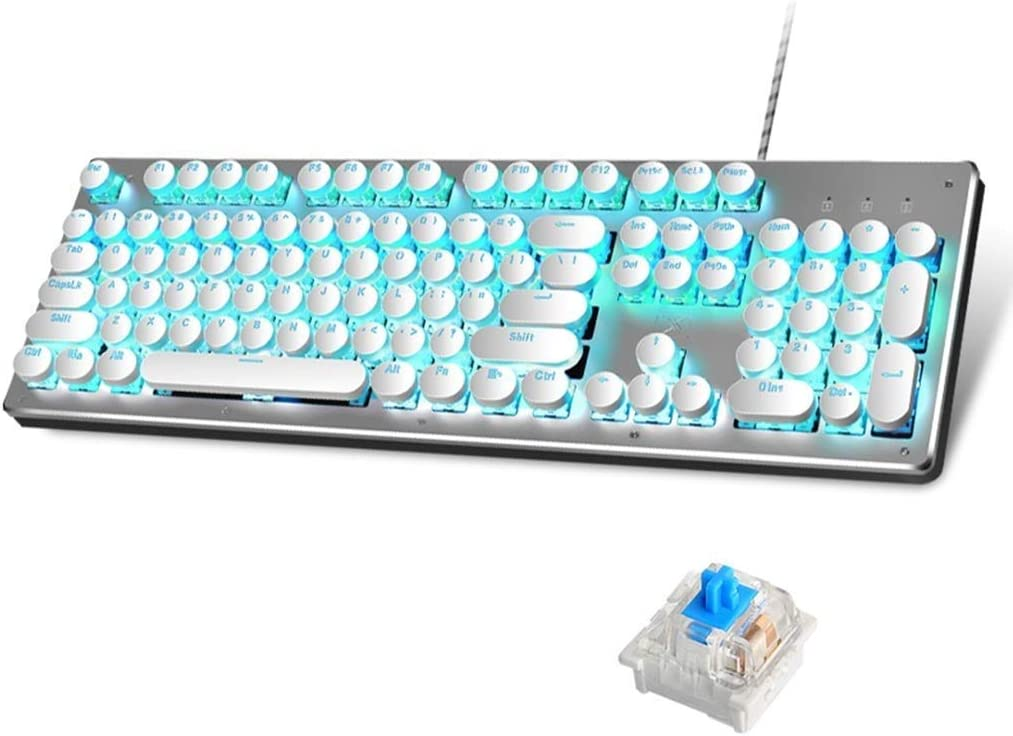 LHQ Rétro Clavier De Jeu Mécanique Réel, Bleu Interrupteur