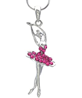 Amazon pammyj girls pink crystal dancing ballerina charm soulbreezecollection light pink dancing ballerina dancer ballet pendant necklace charm mozeypictures Image collections