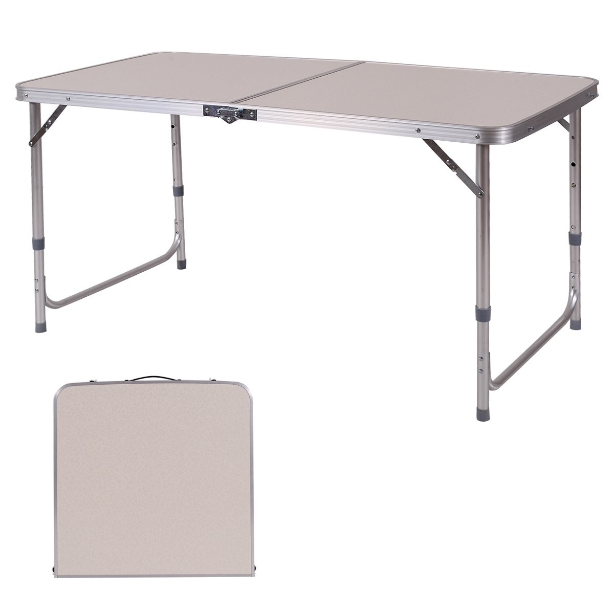 Costway Camping Table Folding Aluminum Portable Picnic Party Dining Table 120x60x70cm Adjustable Height Outdoor Garden BBQ Desk
