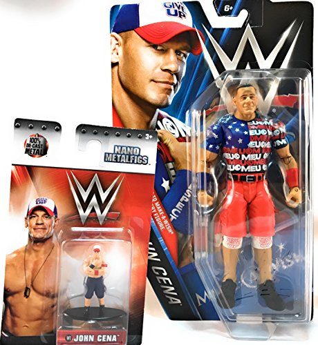 COLLECTIBLE - SET OF 2 - WWE MAKE - A - WISH ACTION FIGURE - JOHN CENA AND COLLECTIBLE NANO METALFICS by Unknown