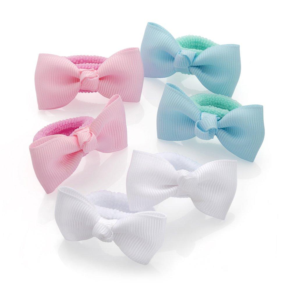 Set of 6 Small Soft Jersey Endless Fabric Hair Elastics Bobbles Ponios Bands Tie