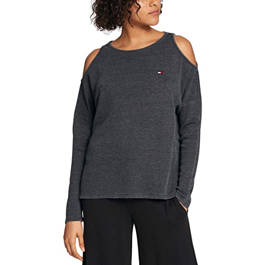 79878eb0abda6 Image Unavailable. Image not available for. Color  Tommy Hilfiger Women s  Sport Cold-Shoulder Waffle-Knit Top