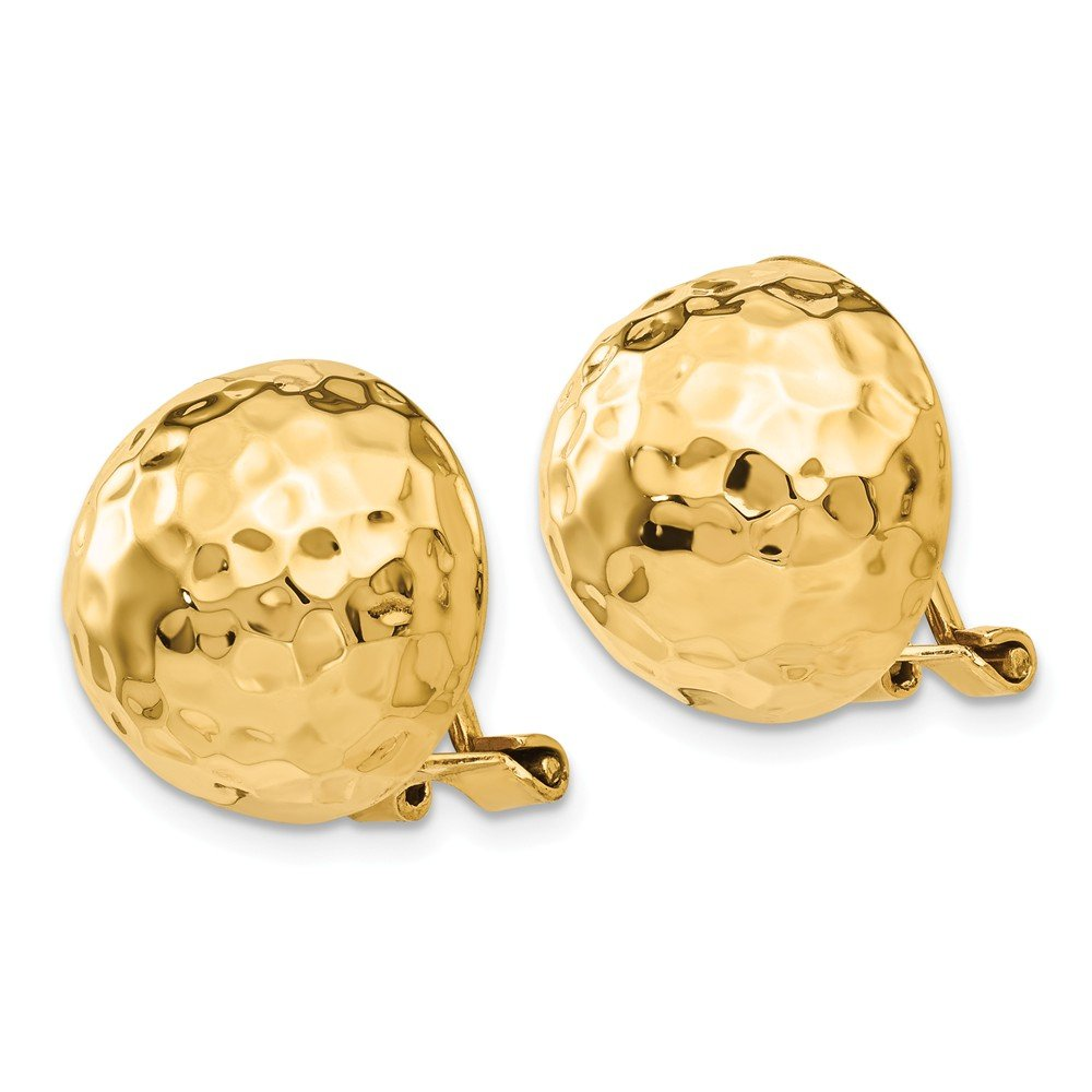 14k Yellow Gold Omega Clip 14mm Hammered Non Pierced On Earrings Ball Button Fine Jewelry Gifts For Women For Her by ICE CARATS (Image #3)
