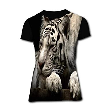 875cfb21 Amazon.com: Big White Tiger Black Simple and Chic Women Short Sleeve ...